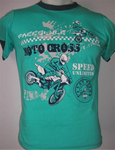 zöld motoros póló