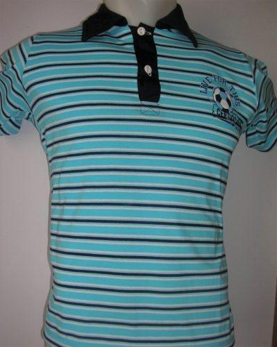 kék csíkos galléros fiú póló